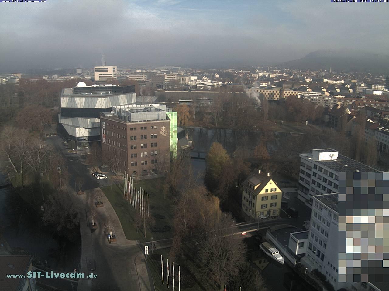 Blick über Neckarinsel und Experimenta